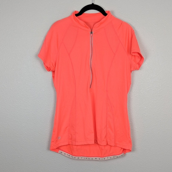 Athleta Tops - Athleta Half Zip Short Sleeve Running Top Size L